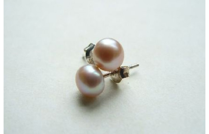 Pink Pearl Stud Earrings - Small