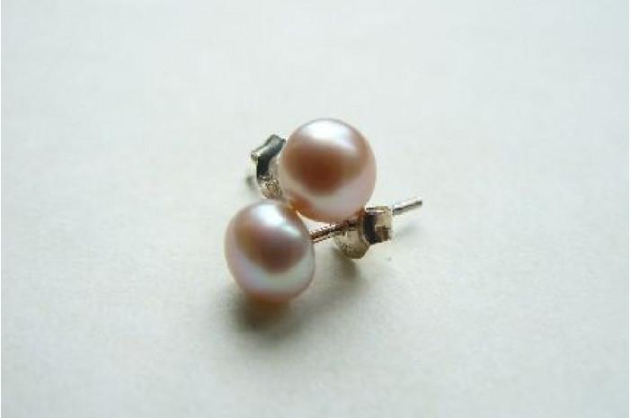 Pink Pearl Stud Earrings - Small