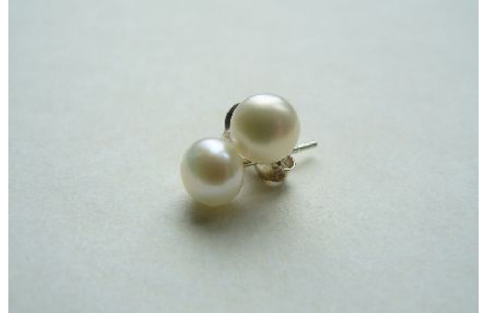 White Pearl Stud Earrings - Small