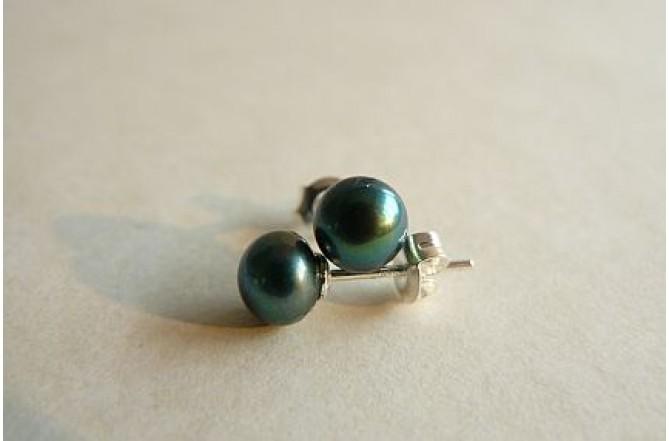 Teal Green Pearl Stud Earrings - Small