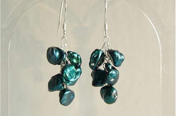 Teal Green Keshi Pearl Drop Earrings