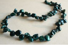 Teal Green Keshi Pearl Necklace