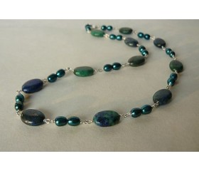 Teal Pearl & Chrysocolla Necklace