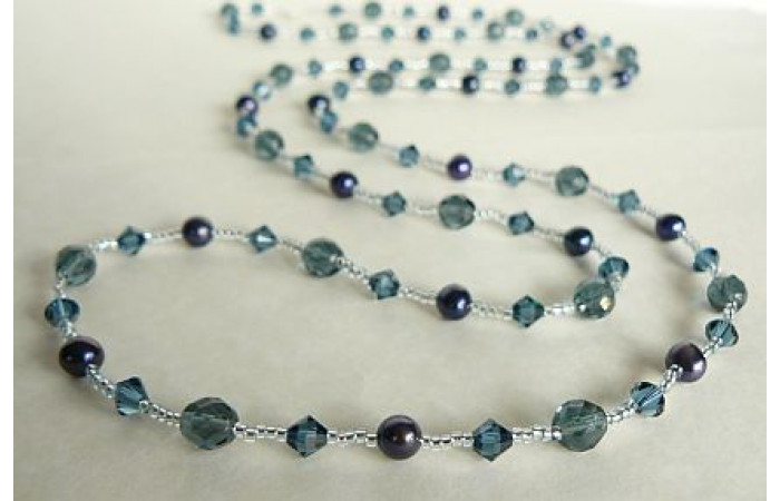 Tie or Wrap Blue Swarovski Crystal Long Necklace