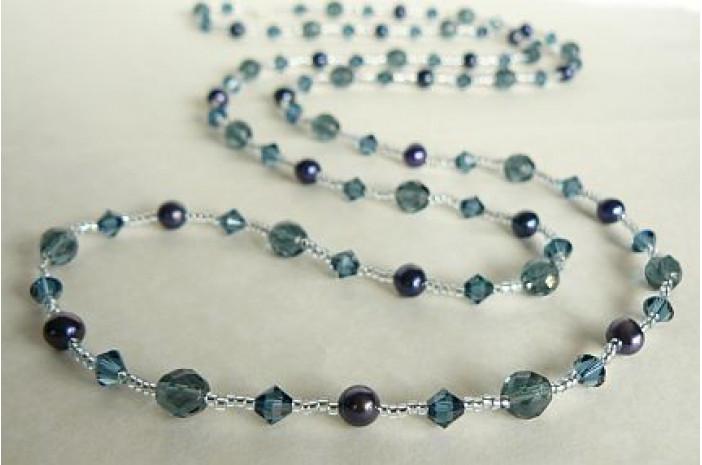 Tie or Wrap Blue Swarovski Crystal Long Necklace
