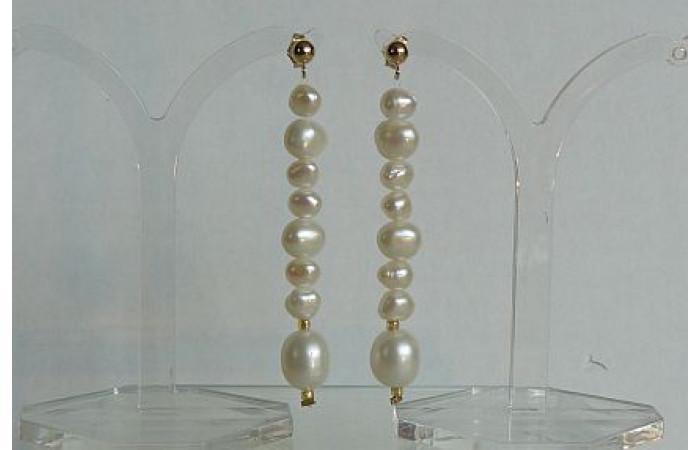 White Pearl Long Stud Drop Earrings