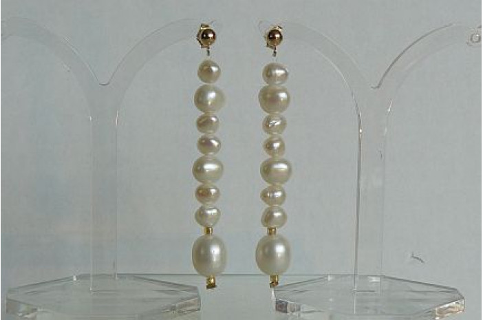 White Pearl Long Stud Drop Earrings