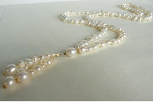 White Long Pearl Necklace & Tassel