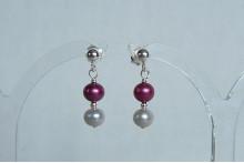 Pink & Silver Pearl Stud Drop Earrings