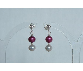 Pink & Silver Pearl Stud Drop Earrings
