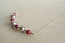 Pink & Silver Pearl Necklace on Small Silver Chain