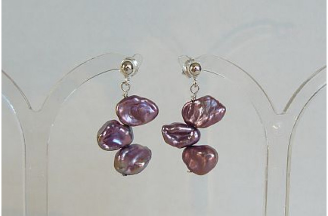 Violet Keshi Pearl Stud Drop Earrings
