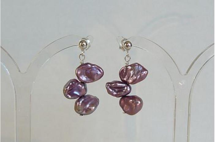 Violet Keshi Pearl Stud Drop Earrings