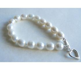 White Large Oval Pearl Bracelet & Open Silver Heart