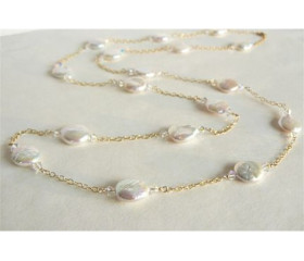 White Coin Pearls & Gold Chain Long Necklace