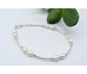 White Small Oval Pearl Bangle Bracelet