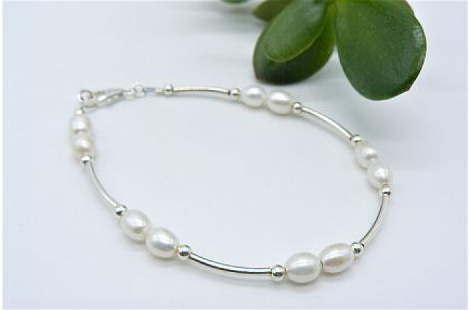 White Oval Pearl Bangle Bracelet
