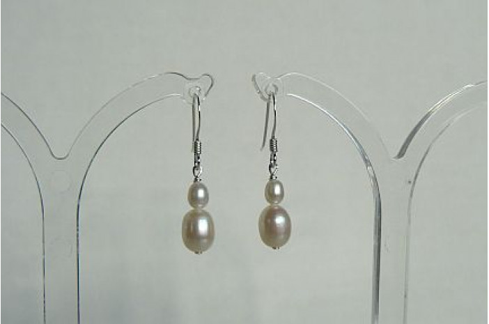 Mixed White Oval Pearl Drop Earrings