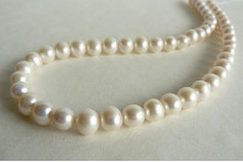White Medium Round Pearl Necklace