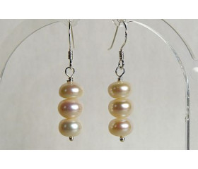 White Button Pearl Drop Earrings