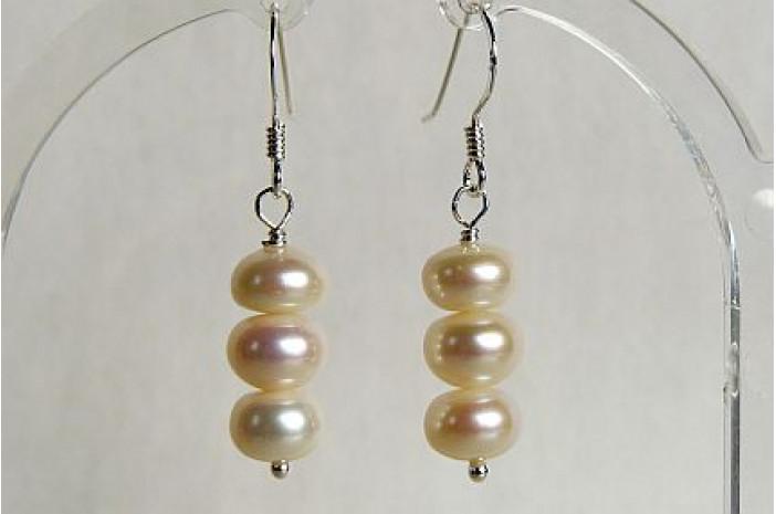 White Button Pearl Drop Earrings