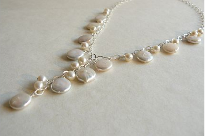 White Coin Pearl Charm Necklace with Drop on Silver Chain