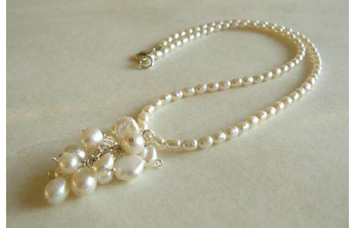 White Pearl Cluster Drop Necklace
