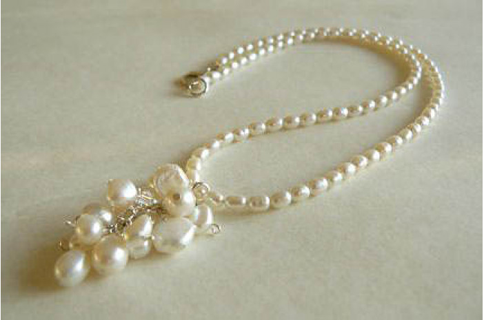 White Oval Pearl & Cluster Drop Necklace