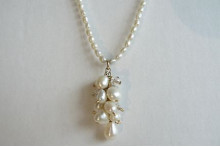 White Pearl & Goldfil Cluster Drop Necklace