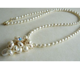 White Pearl & Gold Cluster Drop Necklace