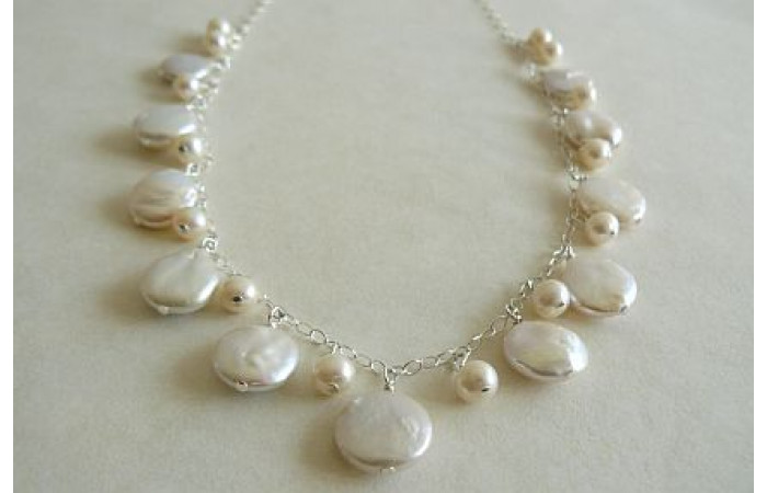White Coin Pearl Charm Necklace on Silver Chain