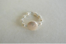 White Coin Pearl Elasticated Ring