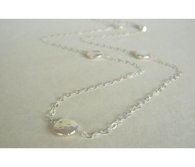 White Coin Pearl Long Necklace on Silver Chain