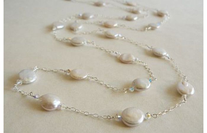White Coin Pearls & Sterling Silver Chain Long Necklace