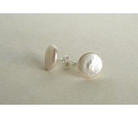 White Coin Pearl Stud Earrings
