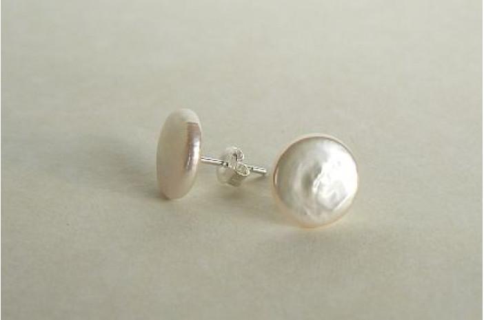 White Coin Pearl Stud Earrings