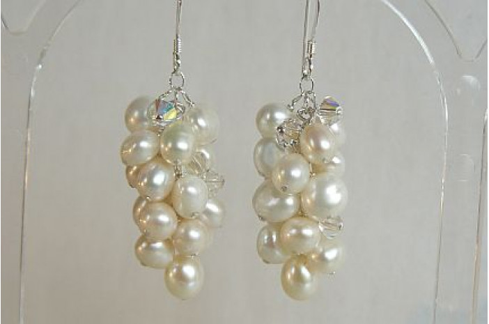 White Pearl Large Cluster Drop Earrings