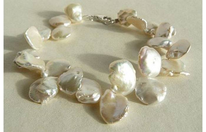 White Large Keshi Pearl Bracelet