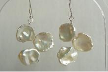 White Large Keshi Pearl Drop Earrings