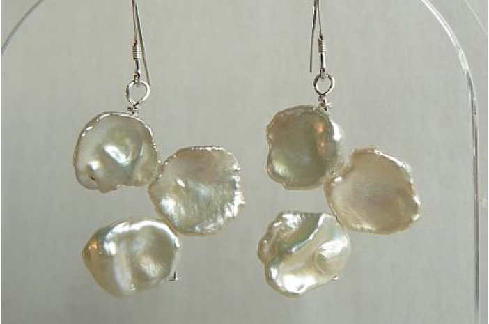 White Large Keshi Pearl Drop Earrings