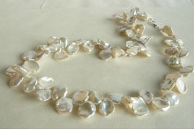 White Large Keshi Pearl Necklace