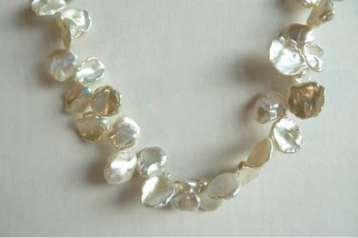 white 05 Wire 39 cm approx 65 keshi fresh water pearls