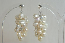 White Pearl Large Cluster Drop Earrings