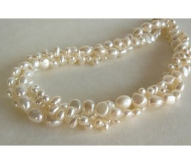 White Mixed Pearl Three Strand Twisted Necklace