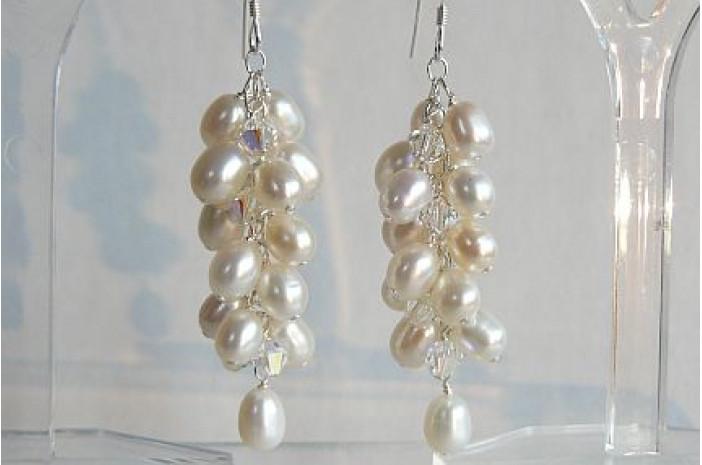 White Oval Pearl Cluster Drop Earrings