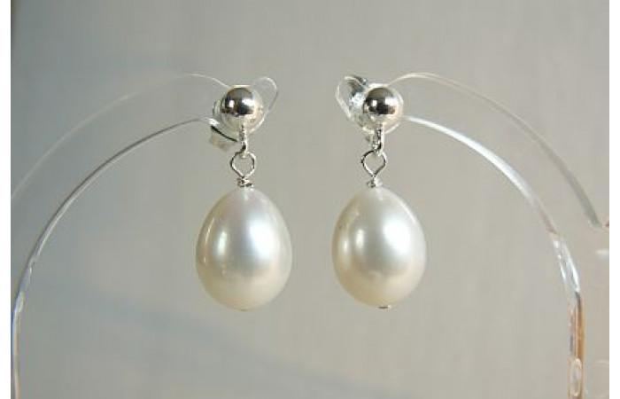 White Oval Pearl Stud Drop Earrings