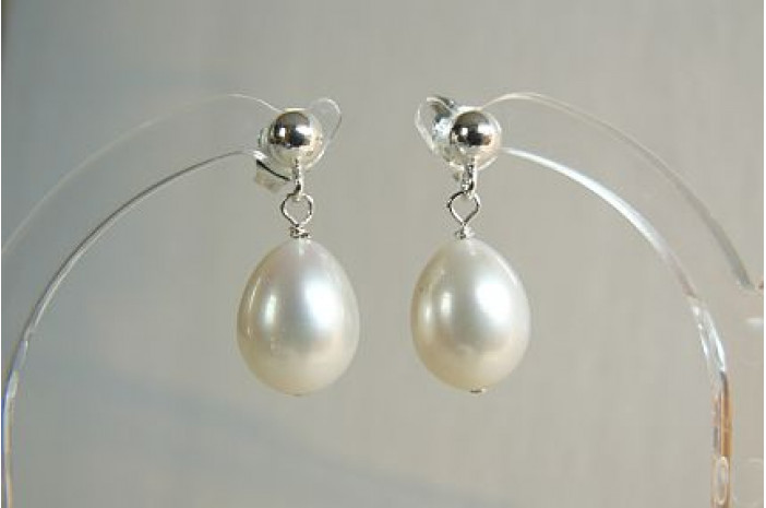 White Oval Pearl Stud Drop Earrings