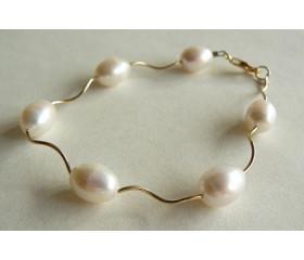 White Pearl & Spiral Tube Bracelet