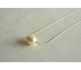Single Pearl on Fine Gold Chain Necklace