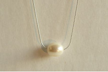 Single White Pearl on Fine Silver Chain Necklace